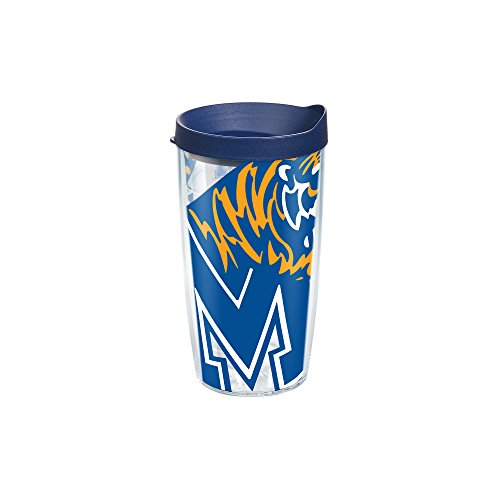Tervis 1093209 Memphis University Colossal Wrap Individual Tumbler with Navy lid, 16 oz, Clear (Memphis 16 Ounce Tumbler)