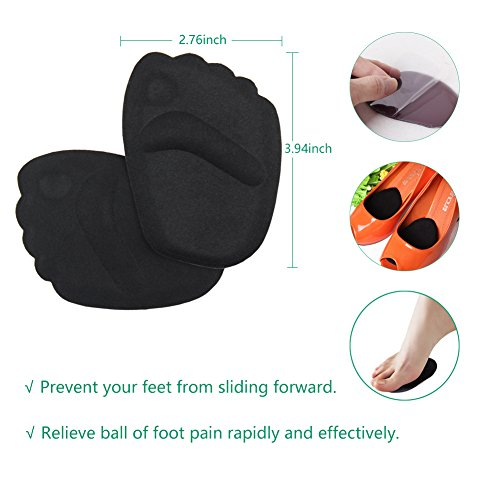 High Heel Pads (8 pcs) - High Heel Inserts, Heel Shoe Inserts, Heel Grips, Heel Cushion Inserts, Metatarsal Foot Pads, Heel Snugs for Women - Blister Prevention & Improve Shoes Too Big (Black) by GENTEE (Image #2)