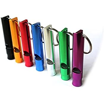 A Set of 5 Extra Loud Whistles for Camping Hiking Hunting Outdoors Sports and Emergency Situations, Sturdy but Light Aluminium Key Chain Signals of Different Colors - by Homey Product