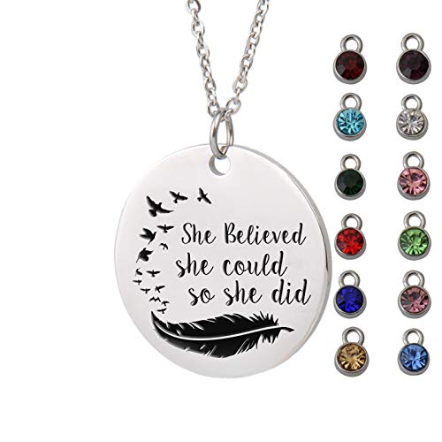 Aoloshow Inspirational Words Necklace Letter Pendant Awareness Customize Birthstone Gifts for Women Girls
