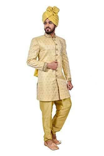 Golden Zari Brocade Silk Traditional Indian Wedding Indo-Western Sherwani for Men by Saris and Things (Image #2)
