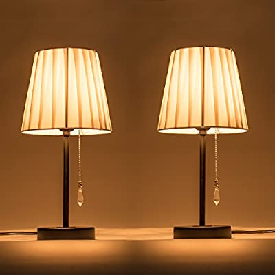 Lanros Table Lamps Set of 2,Fabric Shade Bedside Lamps with Basic Metal Base and Pull Chain for nightstand,Bedroom,Living Room,College Dorm