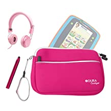 "DURAGADGET Leapfrog Tablet Kit - Hot Pink 8"" Neoprene Carry Case with Front Storage Compartment + Pink Kids Headphones + Hot Pink Stylus Pen for New Leapfrog Platinum Tablet / Leapfrog LeapPad GLO"