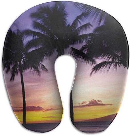 美しい夕日 シルエット 椰子の木 ネックピロー クッション U型 ネック枕 お昼寝枕 旅行用 飛行機 車 バス 自宅 オフィス 携帯に便利 新幹線 出張 収納が簡単 快適 おしゃれ かわいい 洗える 首にいいクッション
