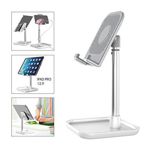 Licheers Cell Phone Stand, Height Adjustable Phone Stand for Desk Tablet Stand Compatible with iPad, iPhone, Android Smartphone, Nintendo Switch and More 4-13 inch Devices (White)