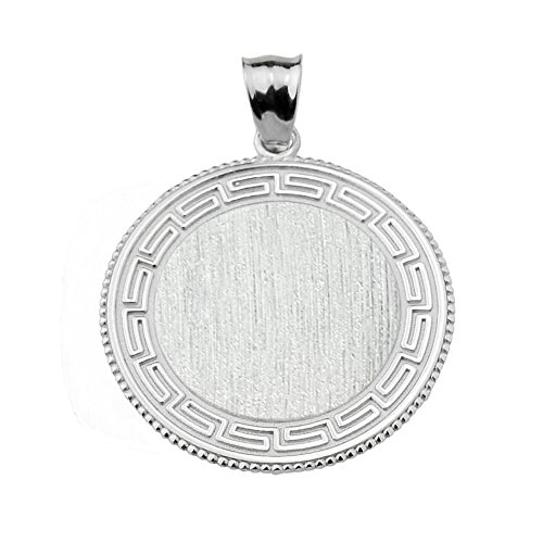 - 925 Sterling Silver Round Engravable Greek Key Charm Pendant