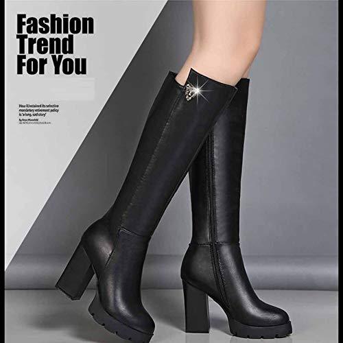in per gli caldo pelle donne velluto moda ginocchio sport tonda più aperta martellato testa Sopra all'aria al a nero stivali le Ixq6wZ8df