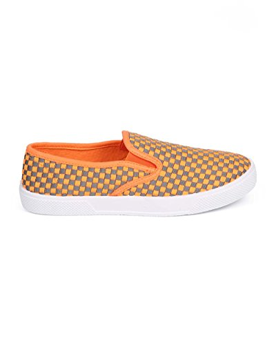 Wild Diva DG53 Women Woven Canvas Round Toe Slip on Sneaker - Orange huESvdhHr