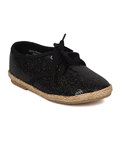 Girls Lace Up Espadrille Flat - Toddler Girl - Round Toe Glitter Sneaker - Lace Up Kids Walker - Casual Dressy Everyday Shoe - HA82 By Jelly Beans Collection - Black (Size: Toddler (Girls Black Hazel Shoes)
