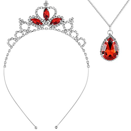 BABEYOND Crystal Rhinestone Toddler Headbands Black Swan Hairband Princess Dress Up Jewelry Set Tiaras Crowns and Teardrop Crystal Necklace For Kids Girls (Red Set) (Crystal Black Red)