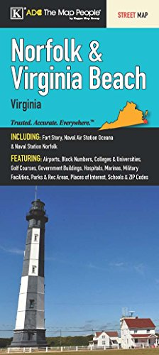 Norfolk & Virginia Beach, VA Fold Map (Map Of The Tidewater Region Of Virginia)