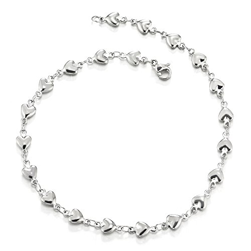 COOLSTEELANDBEYOND Stainless Steel Puff Hearts Link Chain Anklet Bracelet for Women Girls ()