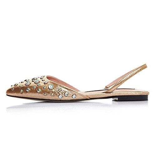 Allhqfashion Womens Stängt Spetsiga Blandning Material Sandaler Med Diamant Guldfärgade?