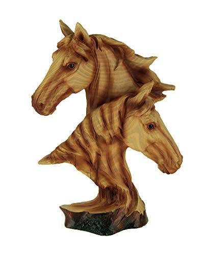 Everspring Faux Carved Horse Heads Wood Look Statue ()