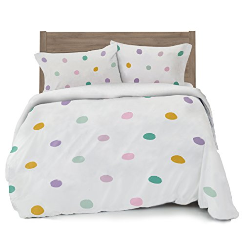 Pink Polka Dot Sheets - Colorful Pink, Seafoam Teal, Yellow and Purple Polka Dot Duvet Cover Full/Queen Size Bedding, White with Grey
