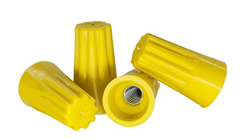 (500 PCS Yellow Wire Connector, P4 Type Easy Twist-On Ribbed Cap - UL and CSA Listed)