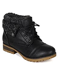 Designed with leatherette upper, round toe front, stitch details, lace up front, knitted sweater cuff, fold down faux fur collar, and treaded non-skid sole.