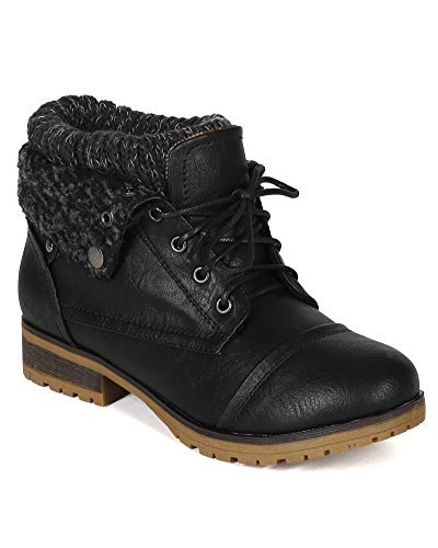 rette Sweater Knit Fold Down Fur Trim Combat Bootie BH47 - Black Leatherette (Size: 8.5) ()