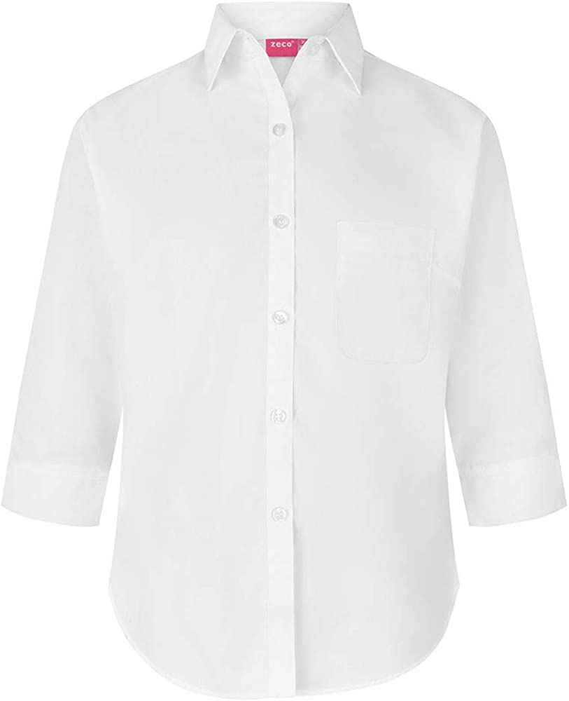 Zeco School Uniform Girls 3//4 Sleeve Button to Neck Blouse