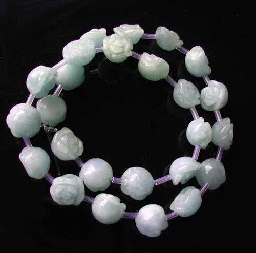 - 12 Roses Carved Quartz Calcite Flower Bead 8 inch Strand for Jewelry Making 10174HS