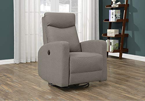 Monarch Specialties RECLINER - POWER SWIVEL GLIDER/LIGHT BROWN FABRIC (Glider Power)