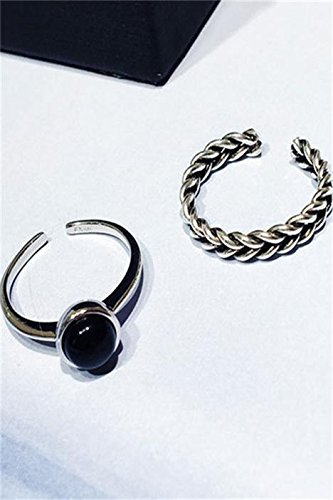 Generic Japan and South Korea small black onyx ring opening index finger combination package women girls lady cannabis retro Thai silver jewelry influx of people in Europe and America by Generic