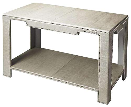 Butler Loft Gray Rectangular Leather, MDF, Beech Wood Solids, Silver Finished Nail Heads Ricci Leather Console Table
