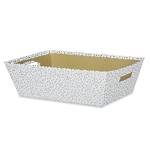 Large Gift Tray - White with Gold Polka Dots (Polka White Tray Dots)