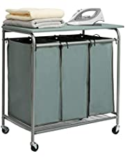 HollyHOME Laundry Sorter Cart with Foldable Ironing Board with Removable 3 Bags Laundry Hamper Sorter