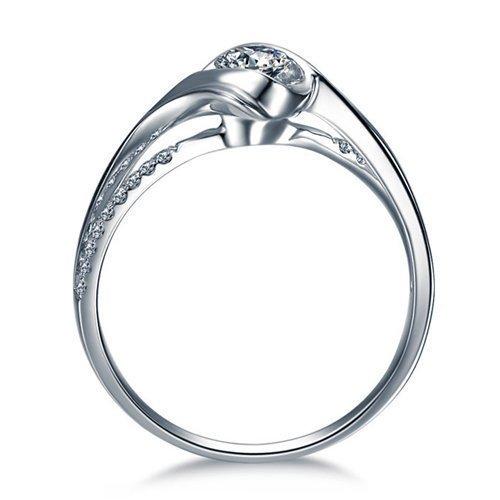 Round Cut Diamond Engagement Ring 14k White Gold or 14k Yellow Gold or Platinum Diamond Ring Art Deco Design HANDMADE Anniversary Ring by Brilani
