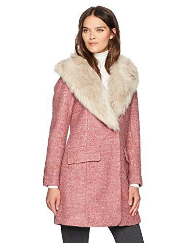 Badgley Mishka Women's Holly Wool Coat Boucle with Faux Fox Fur Collar, Withered Rose, - Coat Pink Dress
