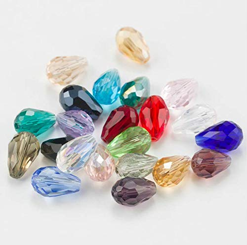 FDGBCF 10 x 15 mm Crystal Tear Drop Shape Jewelry Beads Glass Beads Loose Spacer Round Beads for Jewelry Making DIY
