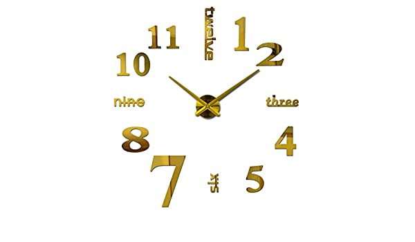 Amazon.com: Batop Quartz Clocks - Fashion Watches 3D Real Big Wall - Clock Rushed Mirror Sticker - DIY Living Room Decor (Gold) (37inch): Home & Kitchen