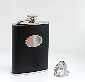 Personalized Black leather flask gift set - Engraved 6 oz tux flask - Groomsmen gift