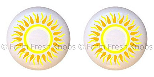 SET OF 2 KNOBS - Sunshine #GF001 - Celestial - DECORATIVE Glossy CERAMIC Cupboard Cabinet PULLS Dresser Drawer -