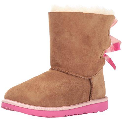 UGG Kids K Bailey Bow II Pull-on Boot, Chestnut/Pink Azalea, 13 M US Little Kid