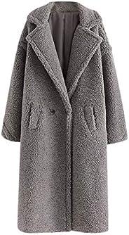 Women's Winter Mid-Length Notch Collar Coats Solid Faux Fur Teddy Coats Jackets Warm Outwear with Pocket B