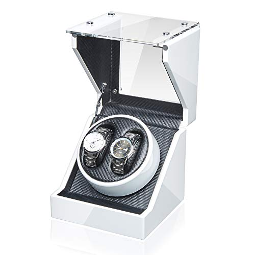JQUEEN Double Watch Winder with Quiet Japanese Mabuchi Motor (White) ()