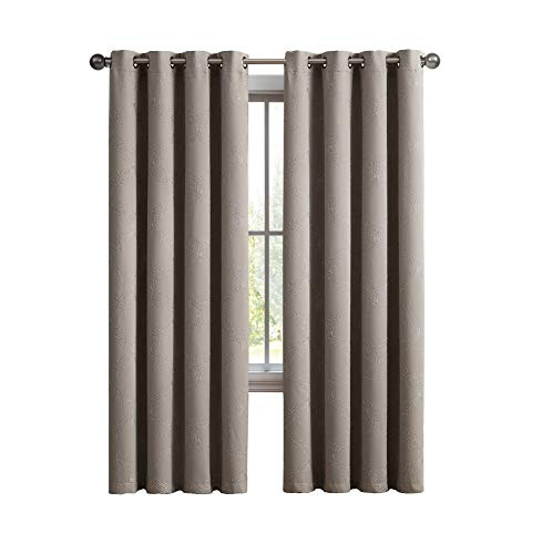 (LinenZone Camilla - Premium Quality Embroidered Thermal Weaved Blackout Window Treatment Energy Efficient -Noise Reduction - Blocks 97% of Light & UV Rays (54