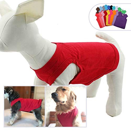 2019 Pet Clothes Dog Clothing Blank T-Shirt Tanks Top Vests for Small Medium Large Size Dogs 100% Cotton Dog Summer Vest Classic Red L (Best Summer T Shirts 2019)