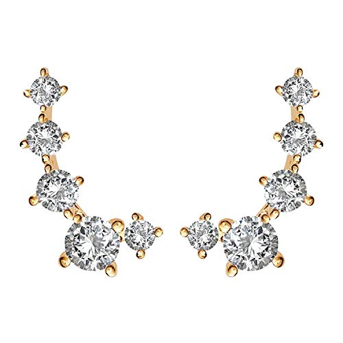 - PAVOI 14K Yellow Gold Plated Cubic Zirconia Ear Crawler | Cuff Earrings | Hypoallergenic Stud Ear Climber Jackets
