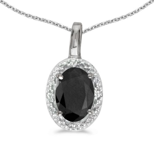 14k White Gold Oval Onyx And Diamond Pendant with 18