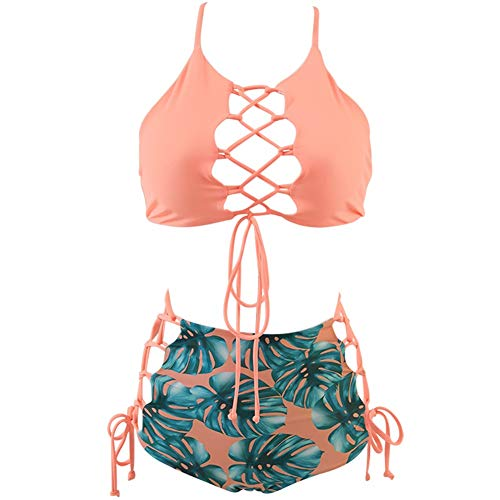 GIRL AND SEA Women High Waisted Bikini Two Piece Lace Up Tankini Bathing Suit Set Pink Leafy ()