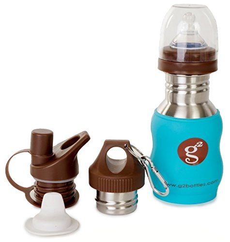 Goo-Goo Baby G2 Wave Stainless Steel Grow Bottle System in Tropical Blue, Tropical Blue, 0+ Years