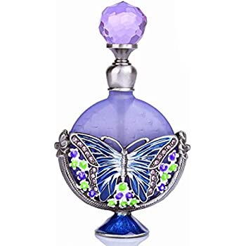 YU FENG Vintage Perfume Bottles Empty Refillable Butterfly Pattern Restoring Ancient Antique (7ml)