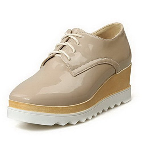 VogueZone009 Damen Lackleder Schnüren Quadratisch Zehe Mittler Absatz Pumps Schuhe Aprikosen Farbe