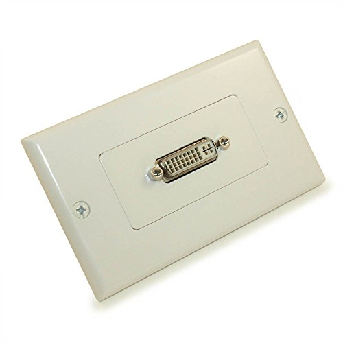 MyCableMart Wall Plate: DVI-I Female/Female 1 Port Decora Style, Gold Plated, White ()