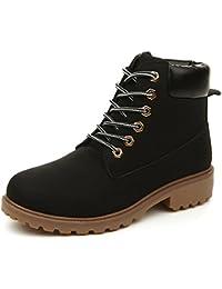 f51146c20d9d Women s Lace Up Low Heel Work Combat Boots Waterproof Ankle Bootie