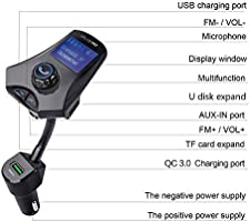 Balck Car Charger 36W QC3.0 2USB Ports with FM Transmitter Mp3 Player for iPhone Xs Max XR X 8 7 6s Plus Galaxy S9 Note 9 8 Nexus iPad Pro