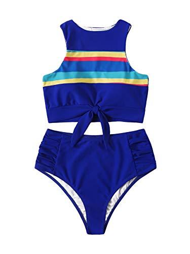 (SweatyRocks Women's Sexy High Waisted Bikini Swimsuit Knot Hem Top Striped Print Two Pieces Tankini Set Z#Blue)